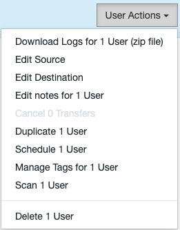 Migration Manager User Actions Mover