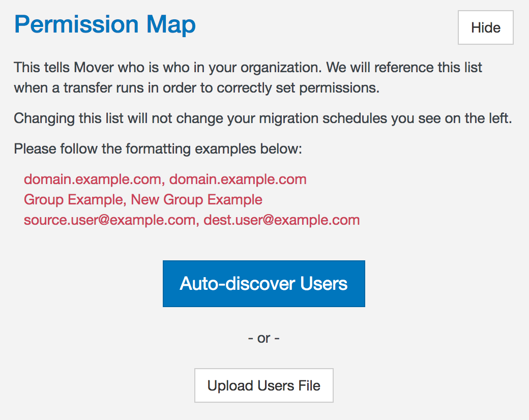 Permission map auto-discover prompt