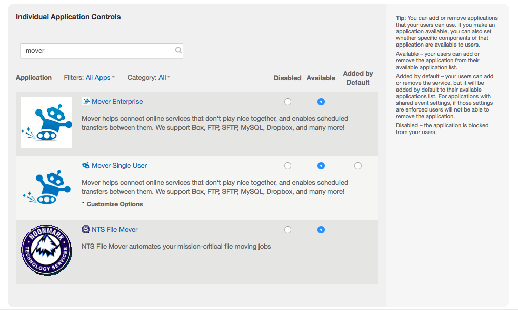 Image of Box enterprise settings page