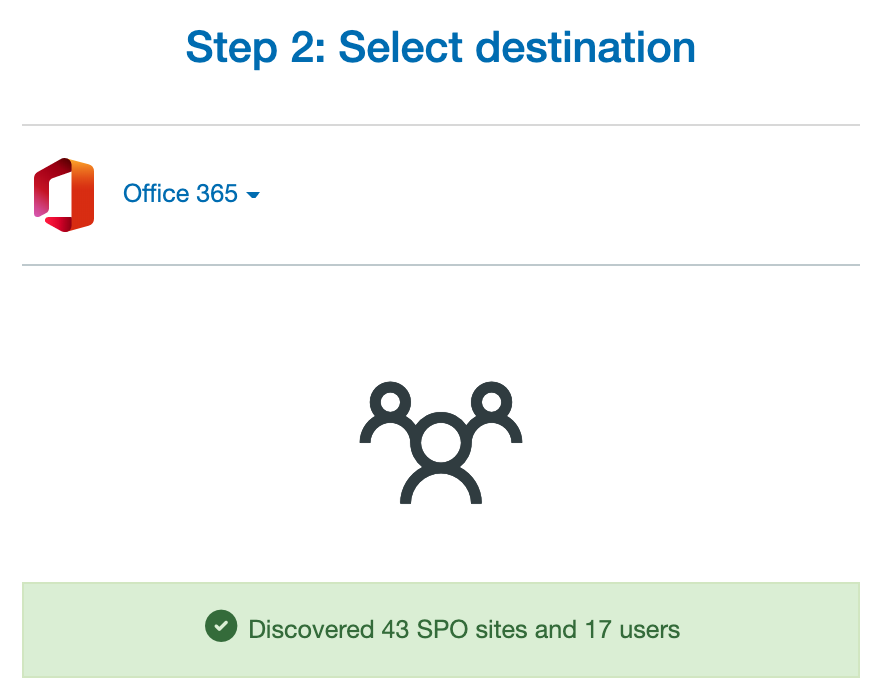 Select Office 365 Destination