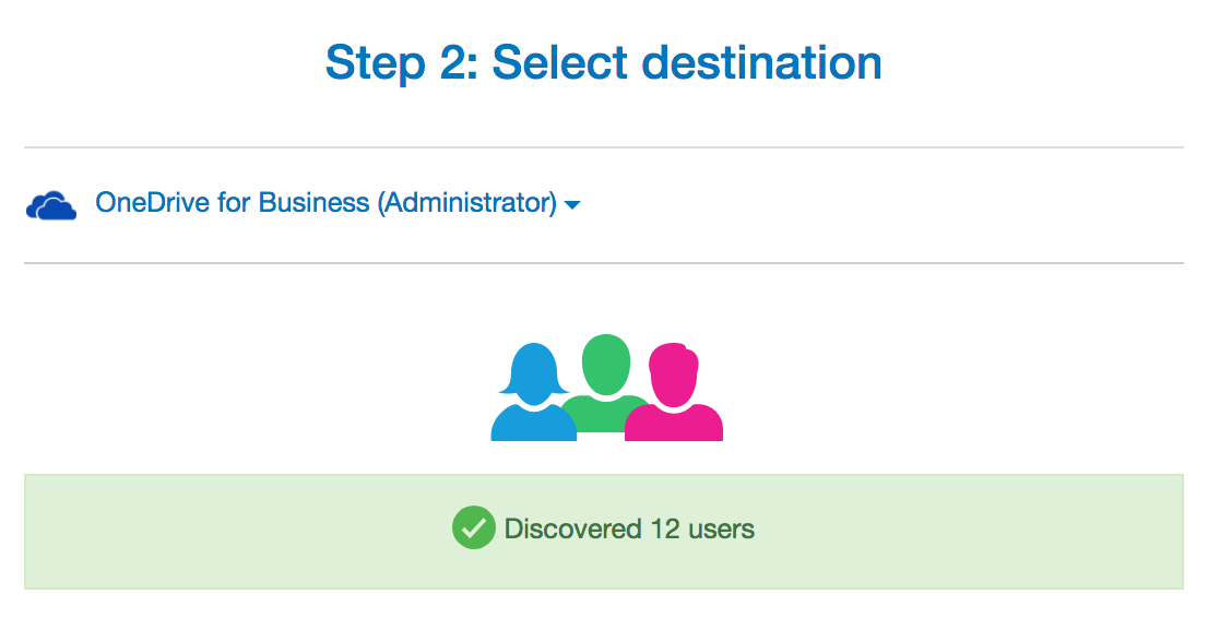 Select OneDrive for Business Destination