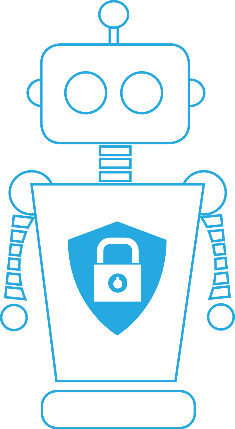 Robot with security shield
