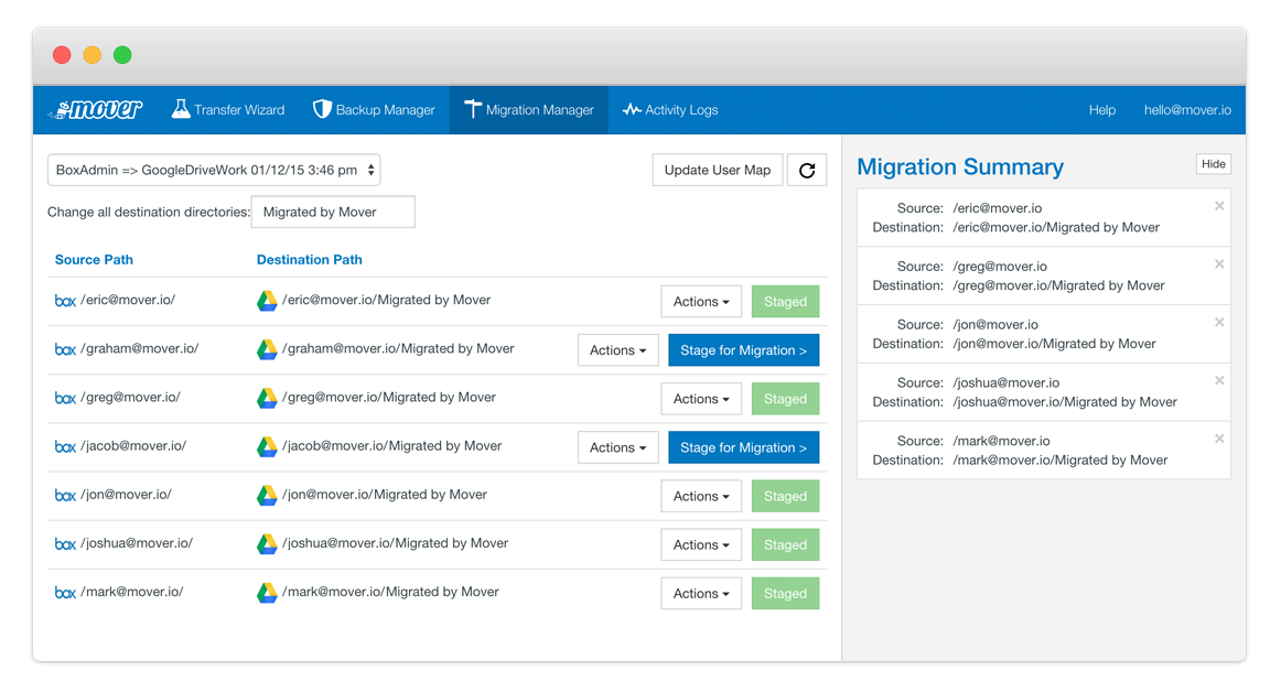 Screenshot of Migration Manager